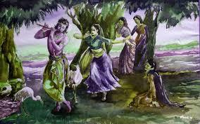 Lord Krishna Rass Leela Hand Painting ...