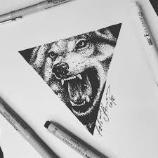 тату эскиз в стиле дотворкгеометрия волк эскиз нарисован