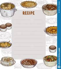 Food Recipe Template Recipe Card Cookbook Page Design Template With Collection Of