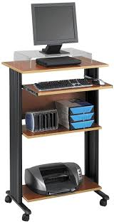 com safco s 1923cy muv 45 h stand up desk fixed height computer workstation with keyboard shelf cherry kitchen dining