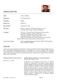 Resume Planning Engineer Engineering Resume Samples For Freshers
