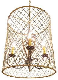 bronze gold wire cage pendant light chandelier country cottage french mediterranean chandeliers by my sy home