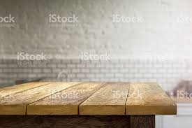 dinner table background. Wooden Table On Blurred Background Of Kitchen Stock Photo Dinner E