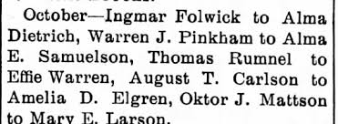 Folwick, Ingmar and Alma Dietrich were married (1907) - Newspapers.com