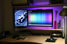 under desk led lighting. Dave Lei\u0027s Ingenious Floating Monitor Setup Under Desk Led Lighting D
