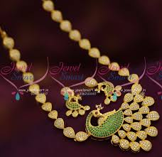 nl6938 peacock jewellery cz green white latest gold design collections
