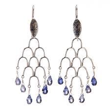 hanging view iolite sterling silver chandelier earrings by la isla jewelry
