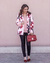 pink coat red shoes and red bow heels blogger outfit
