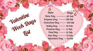 valentine week days 2021 list from 7th