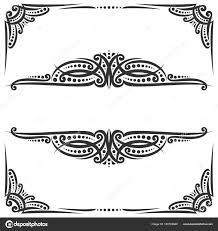 vector decorative black frames on white ornate decoration with flourishes for wedding invitation vintage filigree dividers with curls and dots