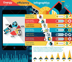 Energy Efficiency Infographics Set With Effective House Control