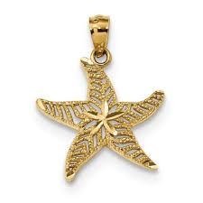 14k yellow gold diamond cut polished filigree starfish pendant charm