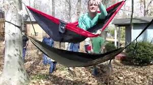 Easily getting into a high hammock - YouTube