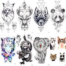 Geometrie Kočka Elk Wolf Dočasné Tetování ženy Tělo Rameno Vody