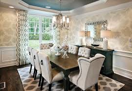 grey nailhead dining chairs dining room transitional with cove ceiling ceiling treatment beige dining chairs