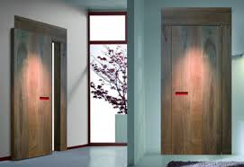 Sliding Wall Wooden Bedroom Doors With No Handle Opening System