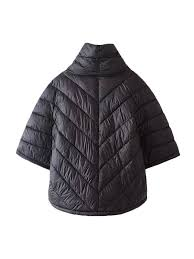 3 4 sleeve black quilted puffer winter coat