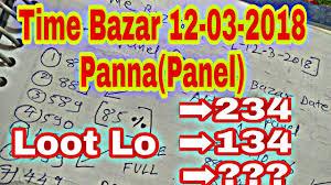 12 03 2018 Time Bazar Panel Panna Chart Satta Makta Youtube