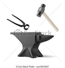 blacksmith tools clipart. stock illustration - anvil, tongs and a blacksmith\u0027s hammer blacksmith tools clipart i
