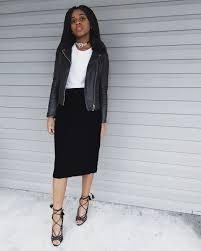 white t shirt black leather jacket black velvet midi skirt black lace up heels black diamond choker necklace