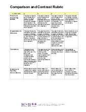 Compare Contrast Essay Rubric Compare And Contrast Rubric