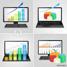Computers And Laptops With Financial Charts And Graphs