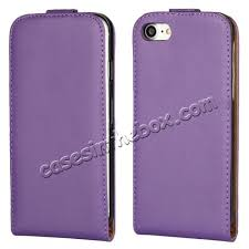 whole genuine leather vertical flip magnetic phone case for iphone 8 plus 5 5 inch purple