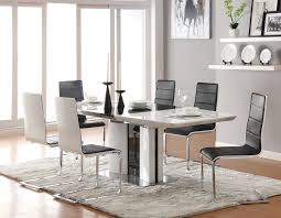 Clear Dining Room Table Modern Glass Dining Room Sets White Furnitures Black Flooring Tile