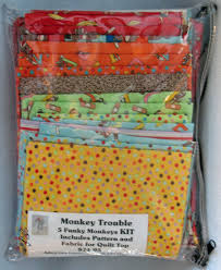 Funky Monkey Fabric and Kits - Admit One Fabrics & Monkey Trouble Quilt Kit Swatches Quilt Kit 007 Adamdwight.com