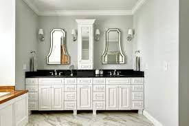 White Double Vanity With Black Countertop Contemporary Bathroom Echelon Custom Homes