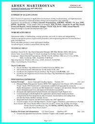 Sql Programmer Sample Resume Inspiration Resume Template Pl Sql Developer Sample Resume Free Career Resume
