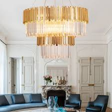 fumat round cake k9 crystal chandelier stainless steel led pendant lamp luxury re hanging light for
