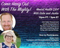"Jackie Zimmerman on Twitter: ""We're going live in 30 minutes! Ask Us  Anything about depression, bipolar, mental illness, etc today at 3:00  eastern. ANYTHING. We'll do our best to answer. (Mental Health"