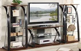 entertainment center with shelves. Entertainment Center Tv Stand And Shelves With Tempered Glass In Walnut Wood Finish On