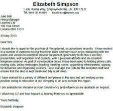 Receptionist Cover Letter Example - http://www.resumecareer.info ...