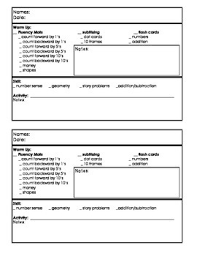 lesson plan template for kindergarten kindergarten guided math lesson plan template by kobbs kinders tpt
