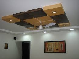 Decorations:Squrae Roof False Ceiling Designs With Brown And Yellow Color  Also White Ceiling Fan
