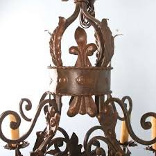 large decorative 9 light french iron chandelier with old world look