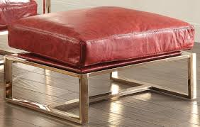 quinto antique red leather ottoman main image