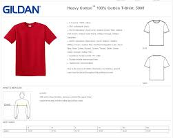 Gildan 5000 Size Chart Gildan 5000 Heavy Cotton 100 Cotton T Shirt