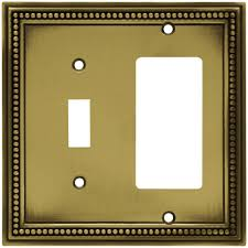 Hampton Bay Beaded Decorative Switch and Rocker Switch Plate, Tumbled  Antique Brass