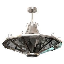 1950s french mid century modern spaceship light fixture with greek detailing for