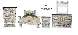 Details about King Size Real Wood White Scrape Reclaimed Look Bedroom Set Western Rustic Cross