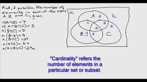 Use The Given Information To Fill In The Number Of Elements For Each Region In The Venn Diagram Three Set Venn Diagram Region Cardinalities