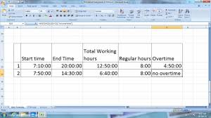 Overtime Calculation In Excel Format How To Calculate Work Hours In Excel