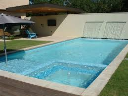 Swimming Pool:Amusing Contemporary Swimming Pool Design With Cement Slope  Wall As Waterfall Ideas Amusing