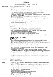 Financial Analyst Job Description Resume Corporate Financial Analyst Resume Samples Velvet Jobs 96
