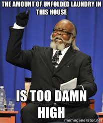 THE AMOUNT OF UNFOLDED LAUNDRY IN THIS HOUSE IS TOO DAMN HIGH ... via Relatably.com