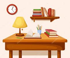 Tabel Met Boeken En Lamp Op Het Plank En Klok Vector Interieur