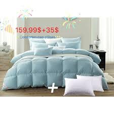 details about king goose down comforter duvets 2pcs pillows 100 cotton cover solid blue